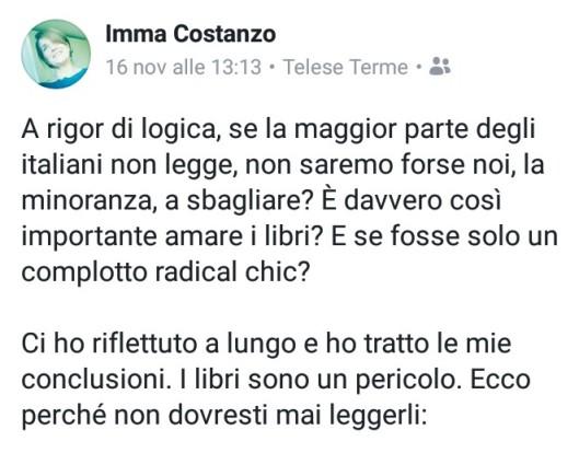 Link a un post sulla lettura tratto dalla pagina Facebook di Imma Costanzo